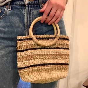 Vintage natural woven / straw purse